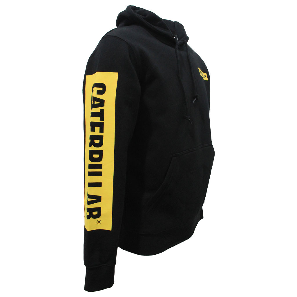 CAT Icon Block Hoodie - Black Yellow Angle