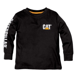 CAT Kids Trademark Banner LS Tees - Black