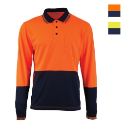Tough Inc Hi Vis LS Polo Shirts